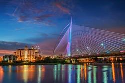 Blue hour at Seri Wawasan Bridge, Putrajaya, Malaysia.