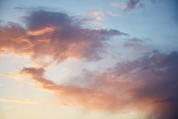 Blue hour - gorgeous sunset sky with pink twinkle clouds. Natural background. High quality photo