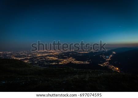 Blue hour on venetian prealps, Veneto, Italy #697074595