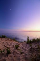 Blue Hour over Lake Michigan beach