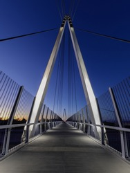 Blue Hour over Mary Avenue Bicycle Footbridge in San Francisco Bay Area, California
