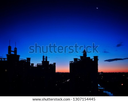 Blue hour silhouettes of buildings #1307154445