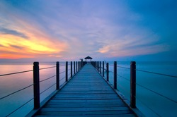 Blue hour sunset with symmetry pier