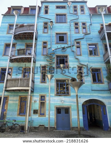blue house facade including lots of art elements seen in Dresden (Saxony, Germany)