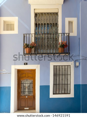 Blue house in a small Spanish village