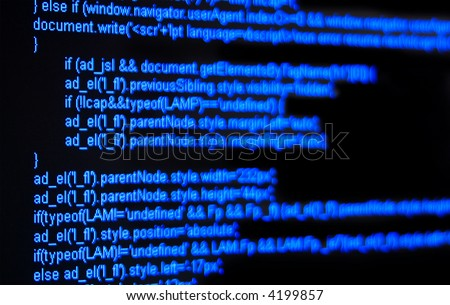 blue html code on black screen