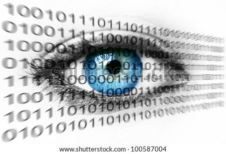 Blue human eye and binary system numbers - Technology concept