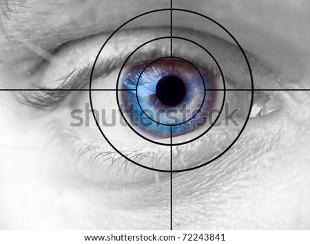 Blue human eye and target