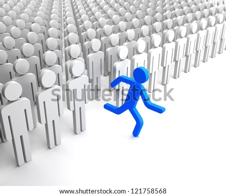 Blue Human Figure Running from the Crowd of Gray Indifferent Humans