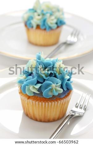 blue hydrangea hortensia cupcake