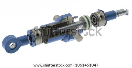 Blue hydraulic cylinder high pressure with thread connection, white background, section, 3D rendering