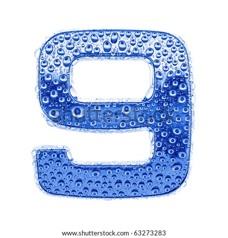 Blue ice alphabet symbol - digit 9. Water splashes and drops on glossy metal. Isolated on white