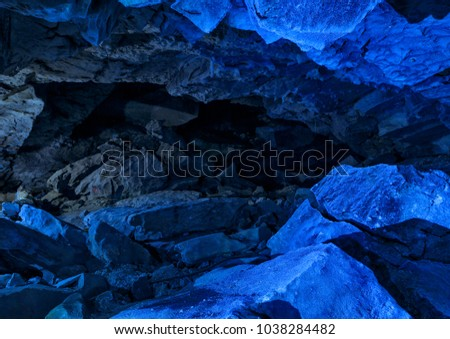 Blue ice cave crystal frozen wall background