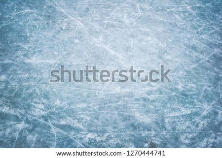 Blue ice in skate scratches