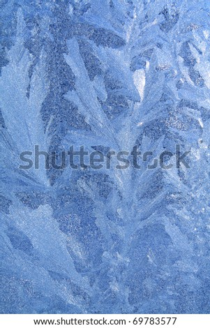 blue ice on winter window