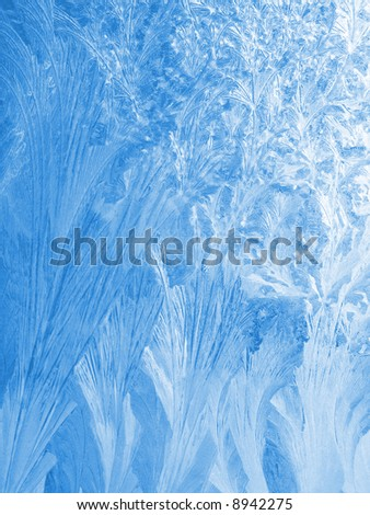 Blue ice pattern on the window