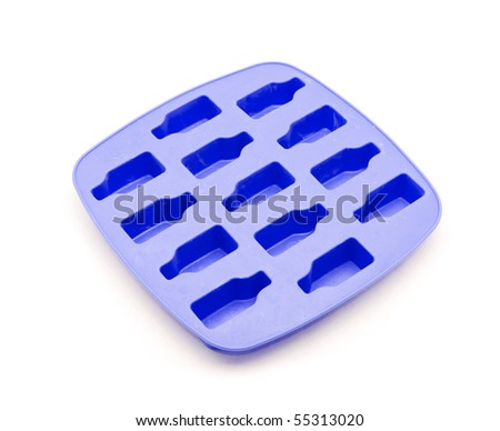 Blue ice tray isolated on white background