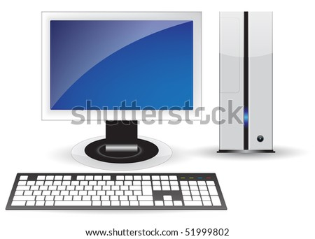 Blue icon pc desktop isolated concept