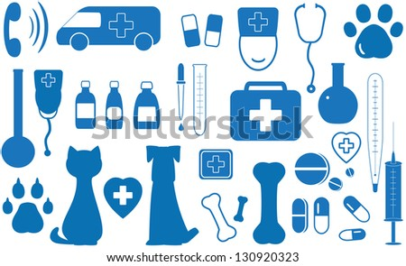 blue icon set veterinary objects