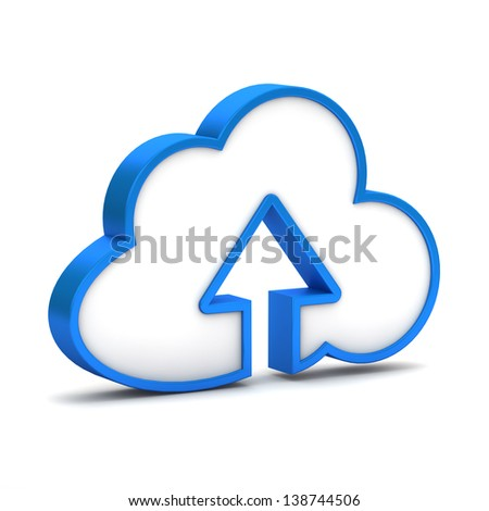 blue icon with cloud and arrow on a white background