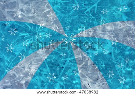 blue icy grunge background with rays and stars for multiple uses