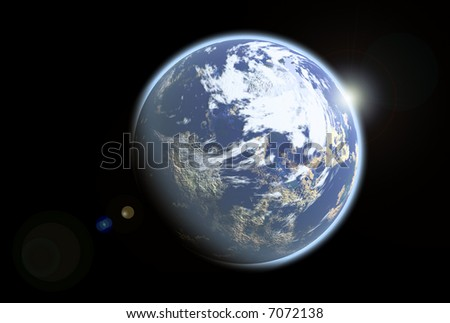 Blue illustration alien earthlike planet from outer space