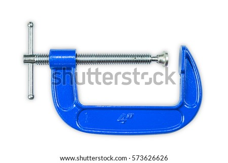 Blue 4 inch C-clamp or G-clamp, isolated on white background with clipping path #573626626