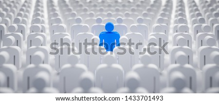 Blue individual in the crowd - concept of leadership and excellence - 3D illustration