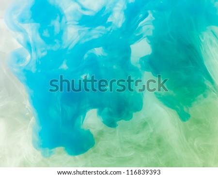 Blue Ink in water.
