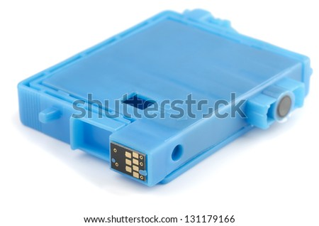 Blue ink printer cartridge isolated on white