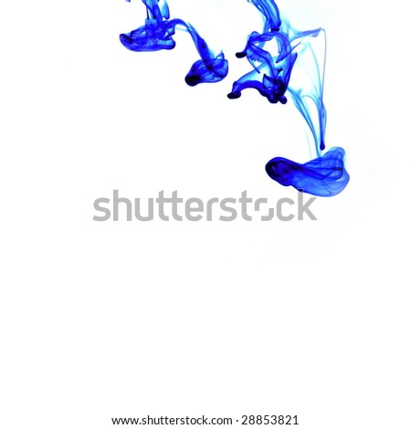 blue ink spreading in the water - stock photo