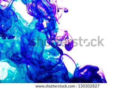 blue inks in water