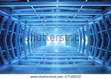 Blue interior, industrial walkway background.