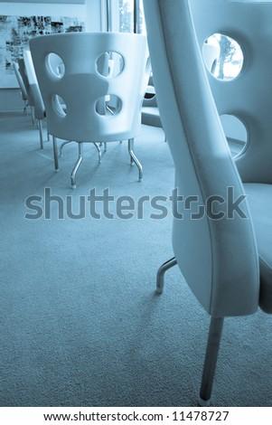Blue interior retro design chairs