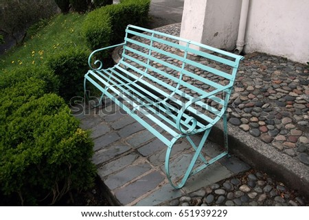 blue iron bench at portmerion
