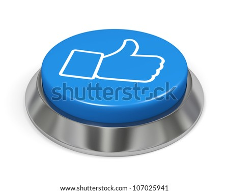 Blue isolated like button with a hand sign