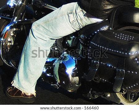 Blue Jean Biker at a Stoplight