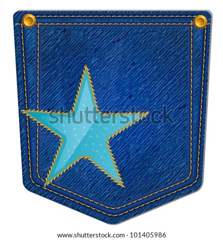 Blue Jean Pocket - Jean Pocket decorated with a star and gold stitching