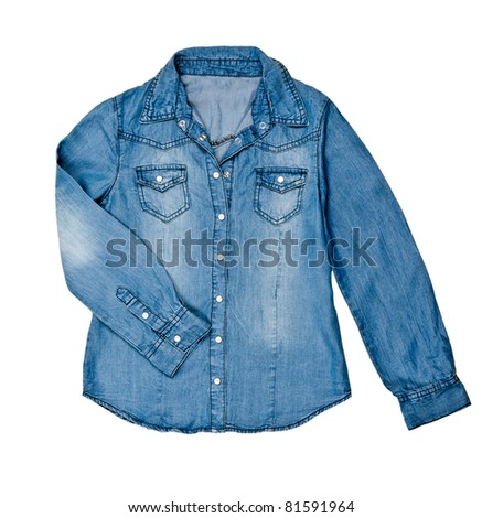 blue jean shirt isolated on white background