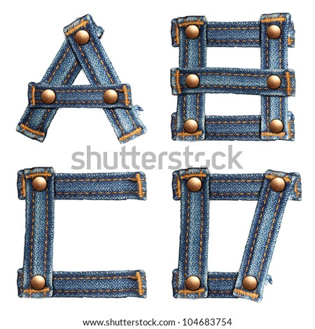Blue jeans alphabet (A B C D) isolated on white background