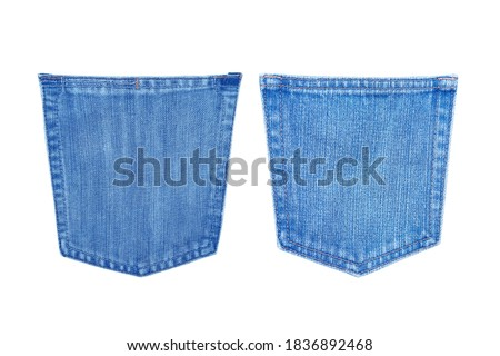 blue jeans back pocket texture isolated on white background with clipping path Foto stock ©
