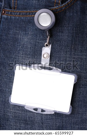 Blue jeans detail with blank id card
