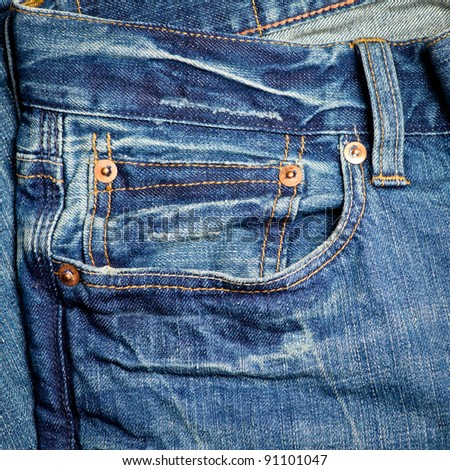 Blue jeans detail with empty pocket