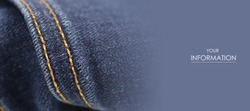 Blue jeans fabric macro seam pattern blurred background
