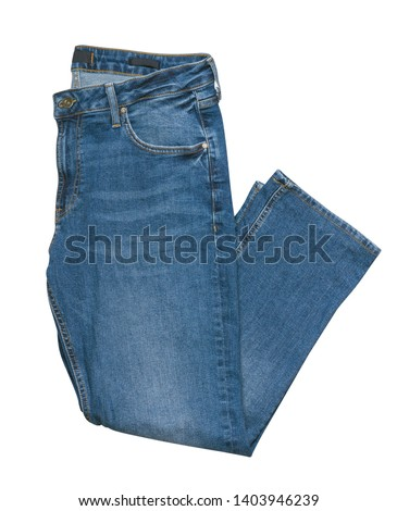 Blue jeans isolated on white background.Beautiful casual jeans .