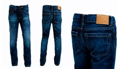 Blue jeans pants isolated front and rear White background .