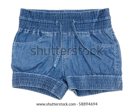 Blue jeans shorts insulated on white background #58894694