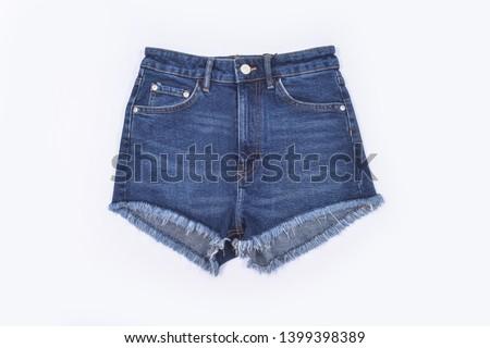 Blue Jeans shorts isolated on white background  #1399398389