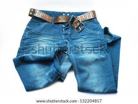 Blue jeans trouser on white