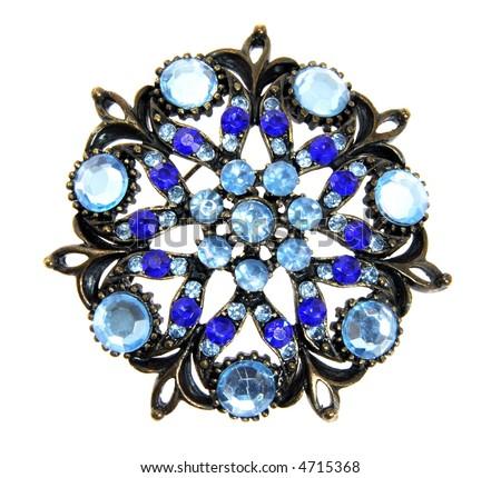 Blue jewel isolated on white background